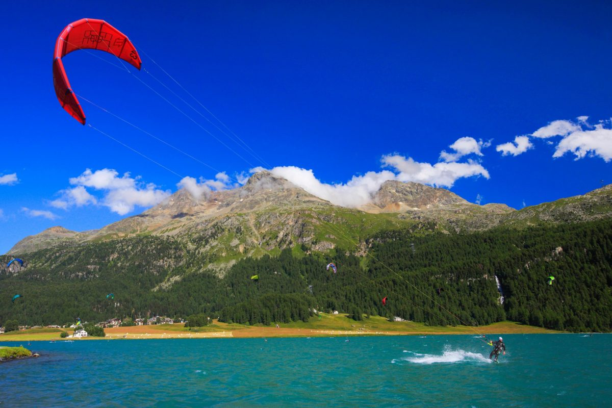 Kiting on Lake Silvaplana, Switzerland