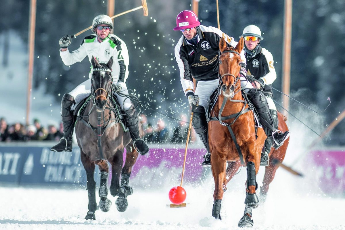 Polo riders on horses in the snow