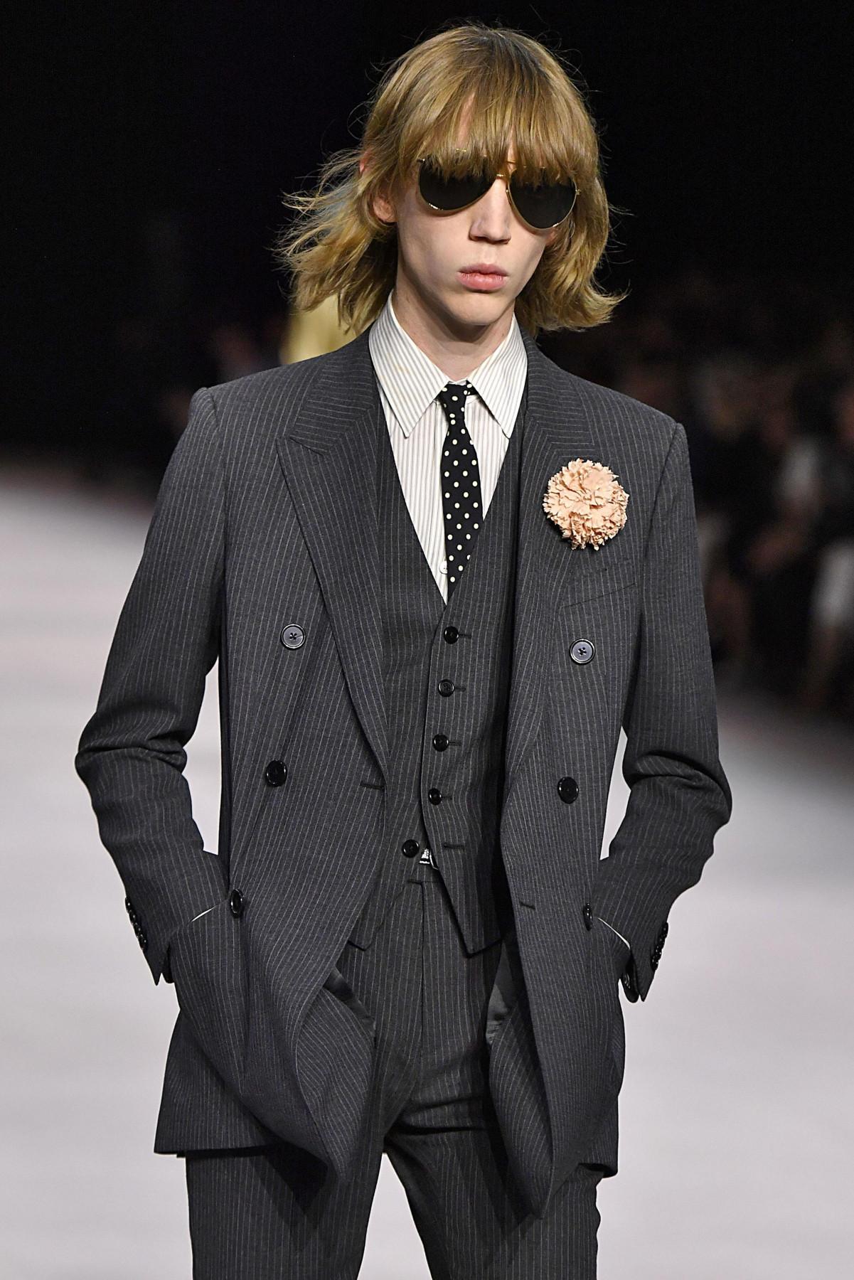 Celine suit with buttonhole