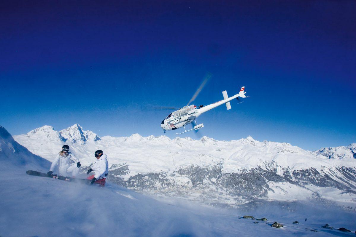 Heli skiing St. Moritz