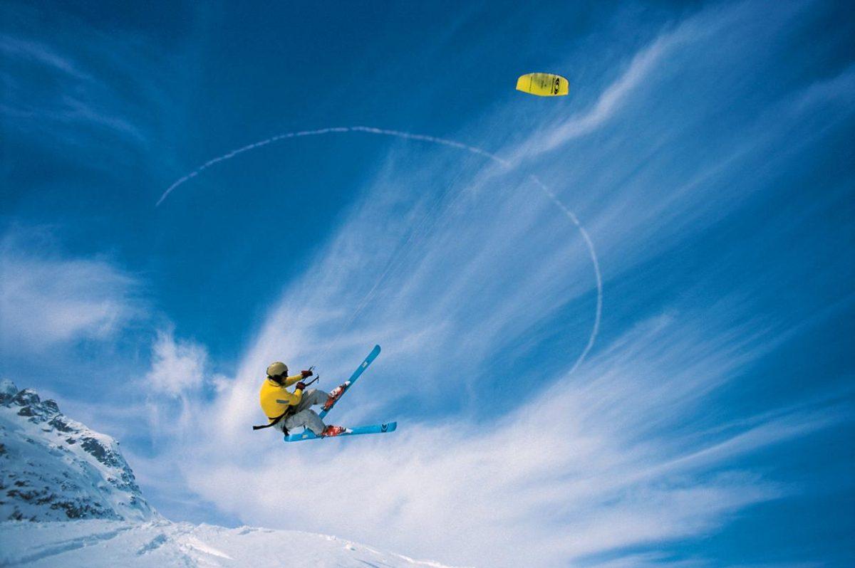 Kitesurfing on snow