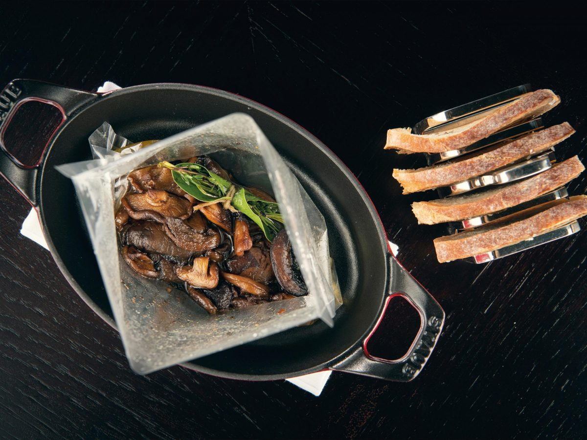 Atherton's roast wild mushroom served in a bag, with cep toast