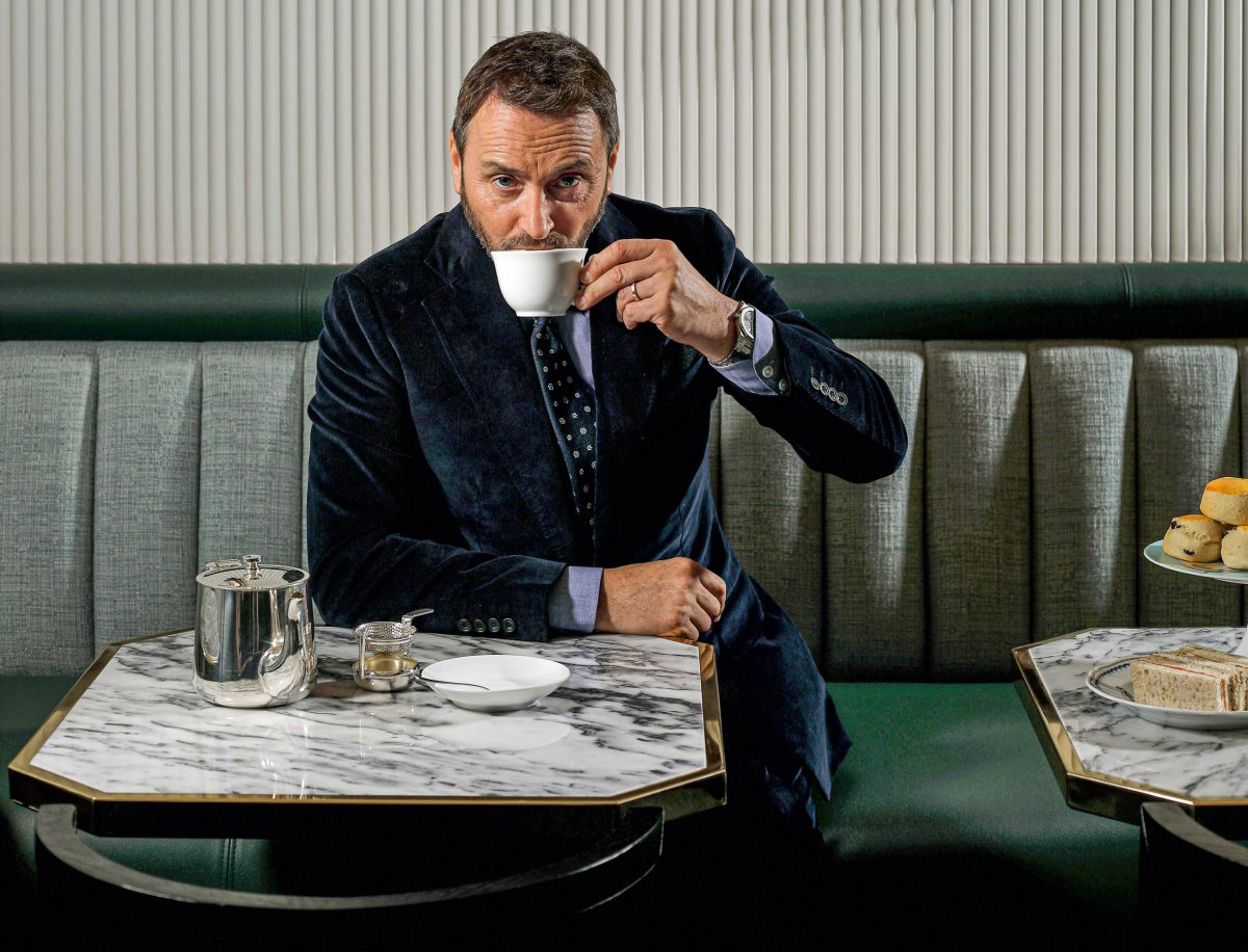 Jason Atherton enjoys a cup of tea at The Betterment in London