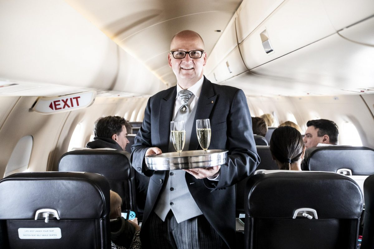 Champagne service on UK to St. Moritz private jet