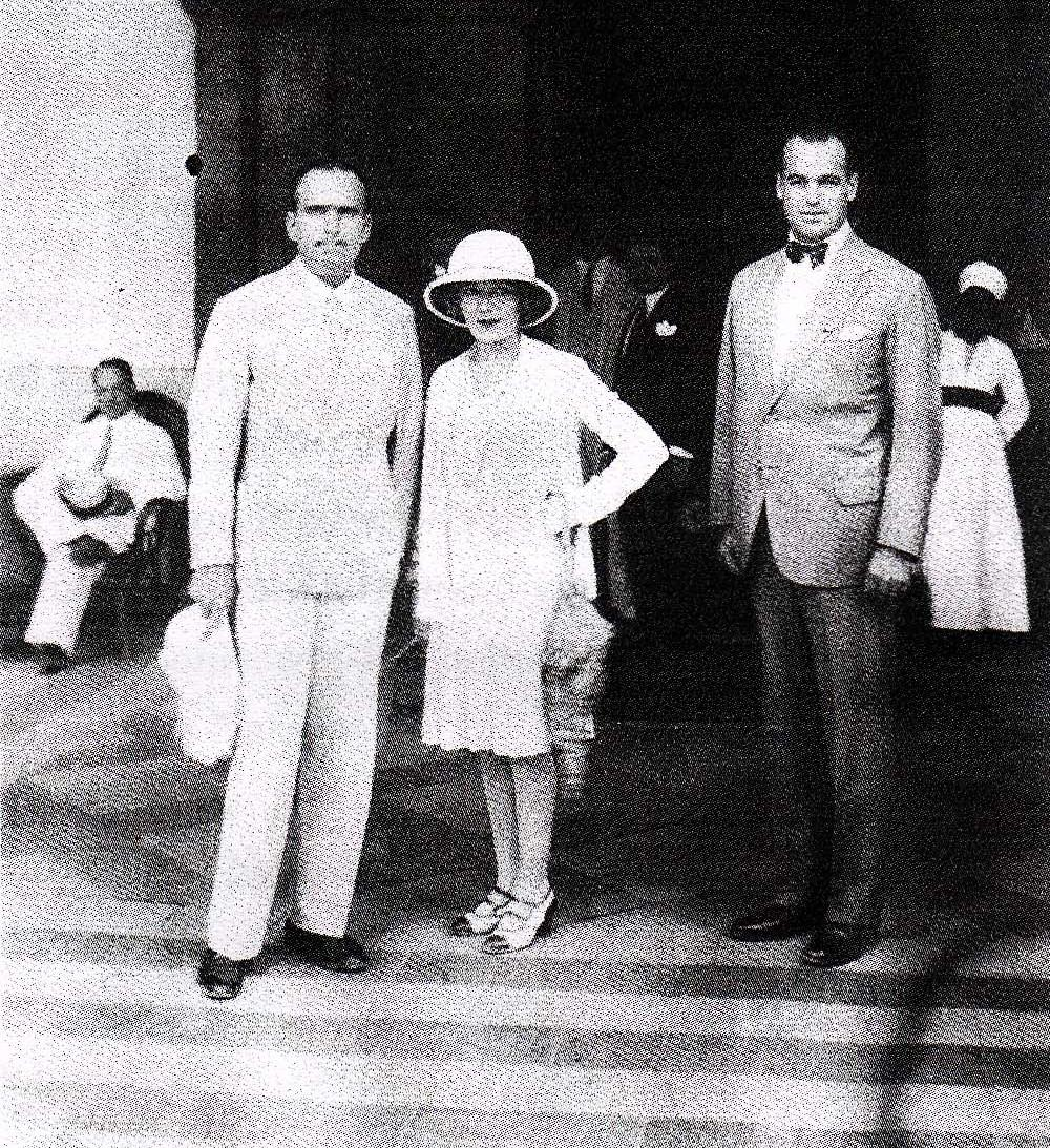 Actors Douglas Fairbanks and Mary Pickford (left) photographed at the Winter Palace hotel in Luxor with Anton 'Toni' Badrutt