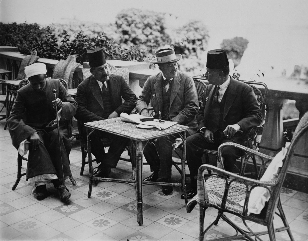 Lord Carnarvon with Egyptian officials on the terrace of  the Winter Palace hotel in Luxor, 1922