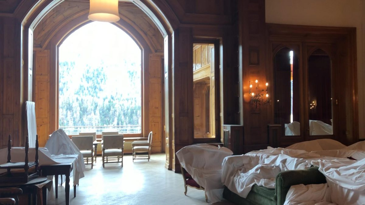 Dust covers protect the furniture in Le Grand Hall between seasons