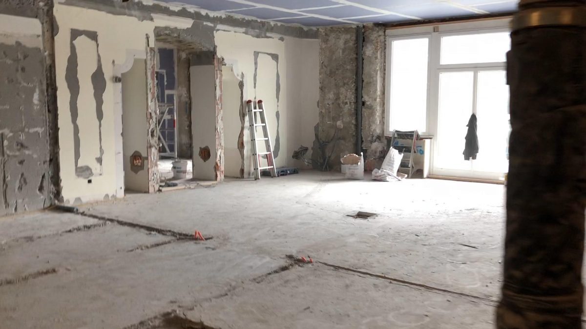 One of the guest suites is completely stripped for renovation