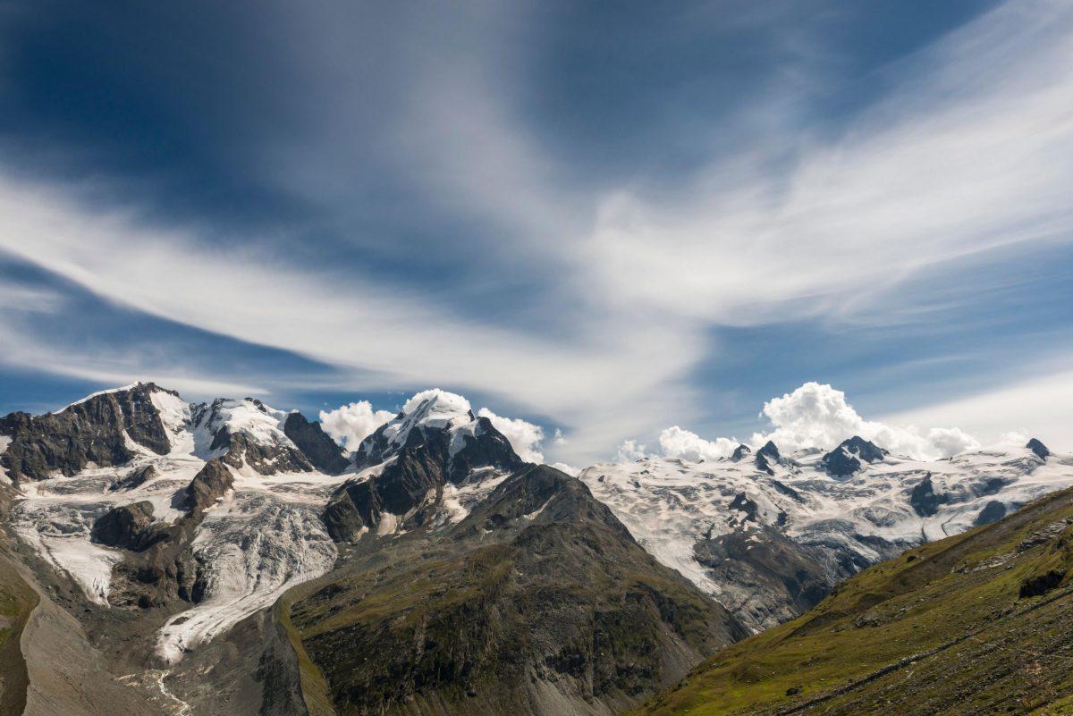 Switzerland, Graubünden, Engadin, Oberengadin, Rosegtal with Piz Bernina Biancograt, Piz Roseg, Sella Group, Tschierva Glacier and Roseg Glacier