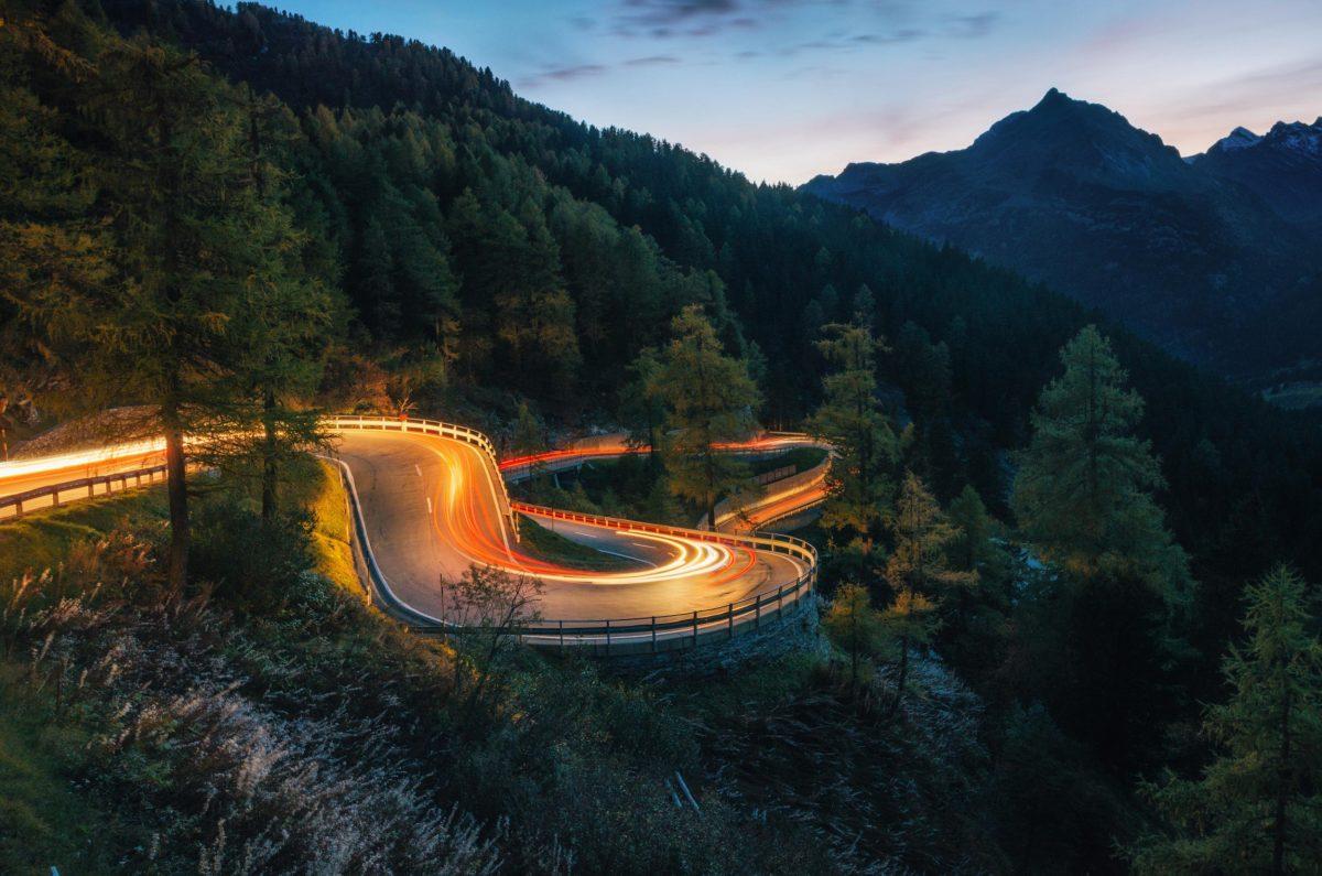 Switzerland winding road at night