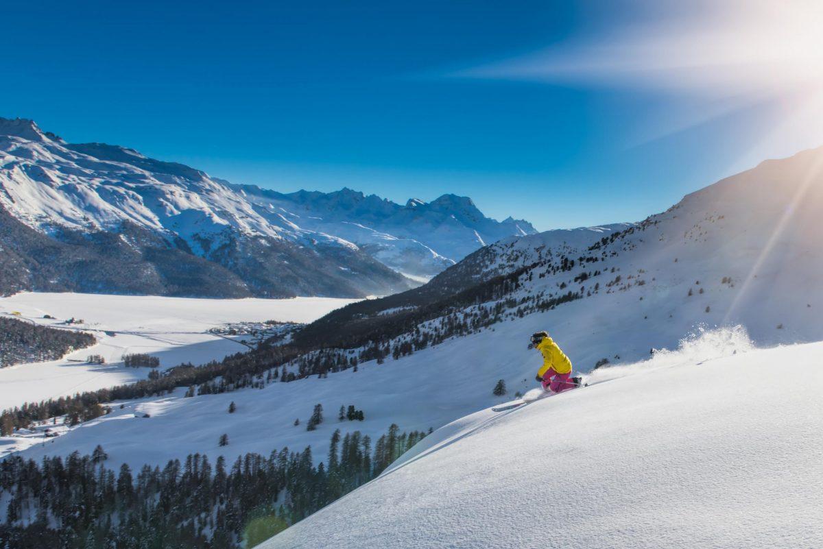 The snow-covered slopes around St. Moritz