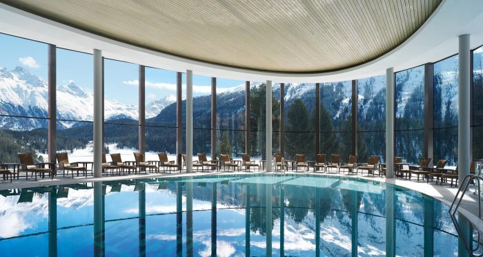 The infinity pool at the Palace Wellness spa in St. Moritz