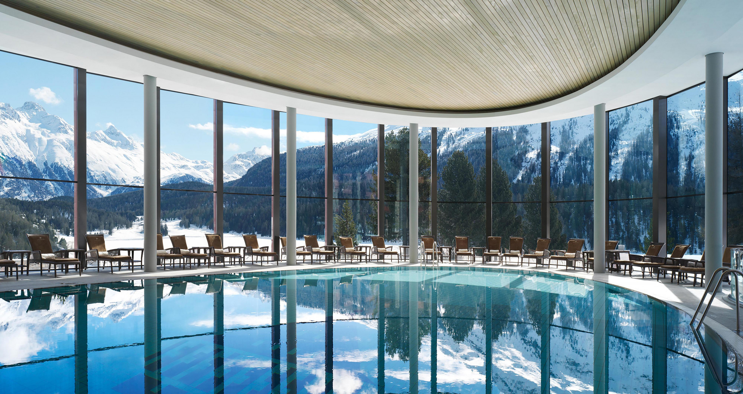 The infinity pool at the exclusive Palace Wellness spa in St. Moritz