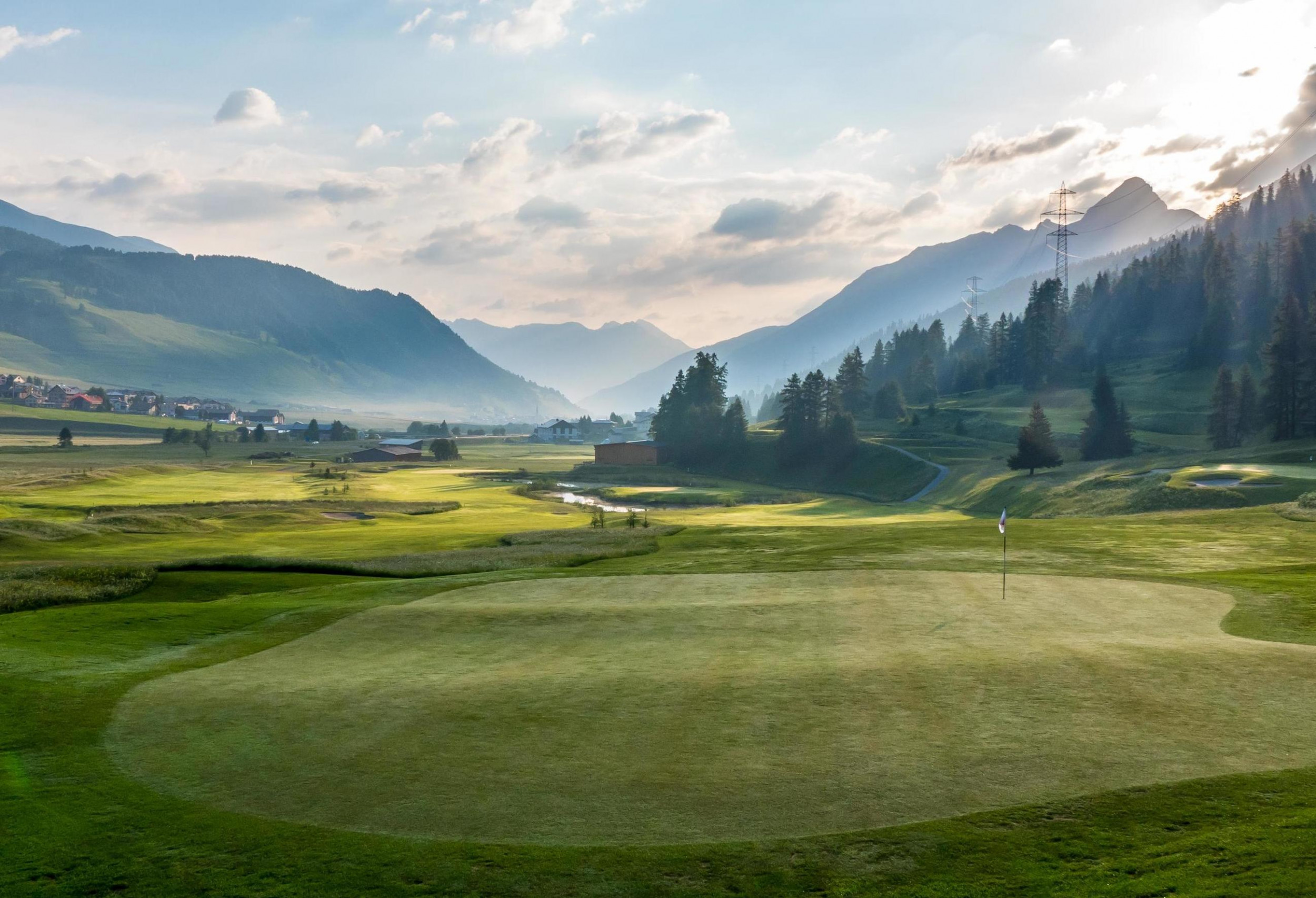 Golf course in the Swiss mountains