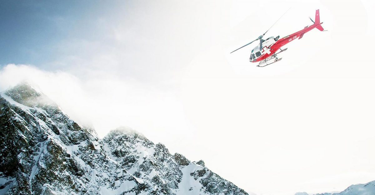 Helicopter over mountains