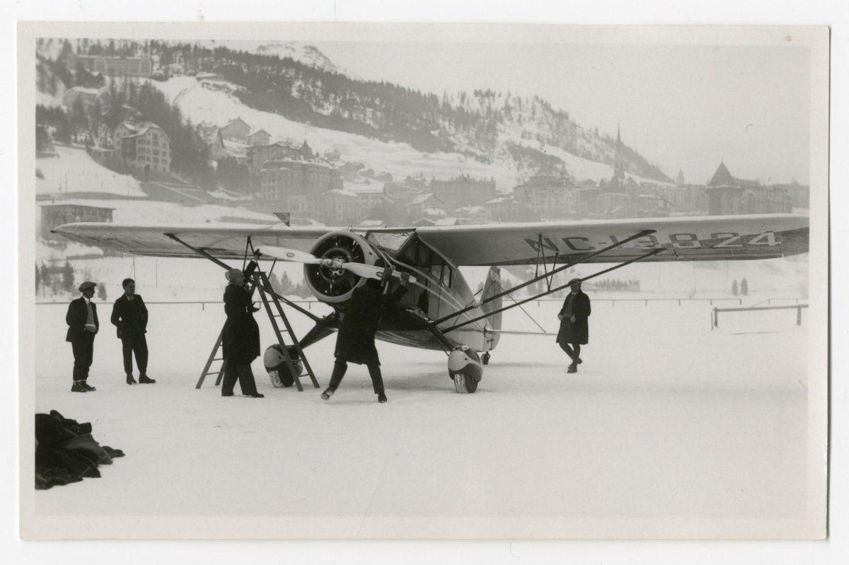Plane on frozen lake of St. Moritz
