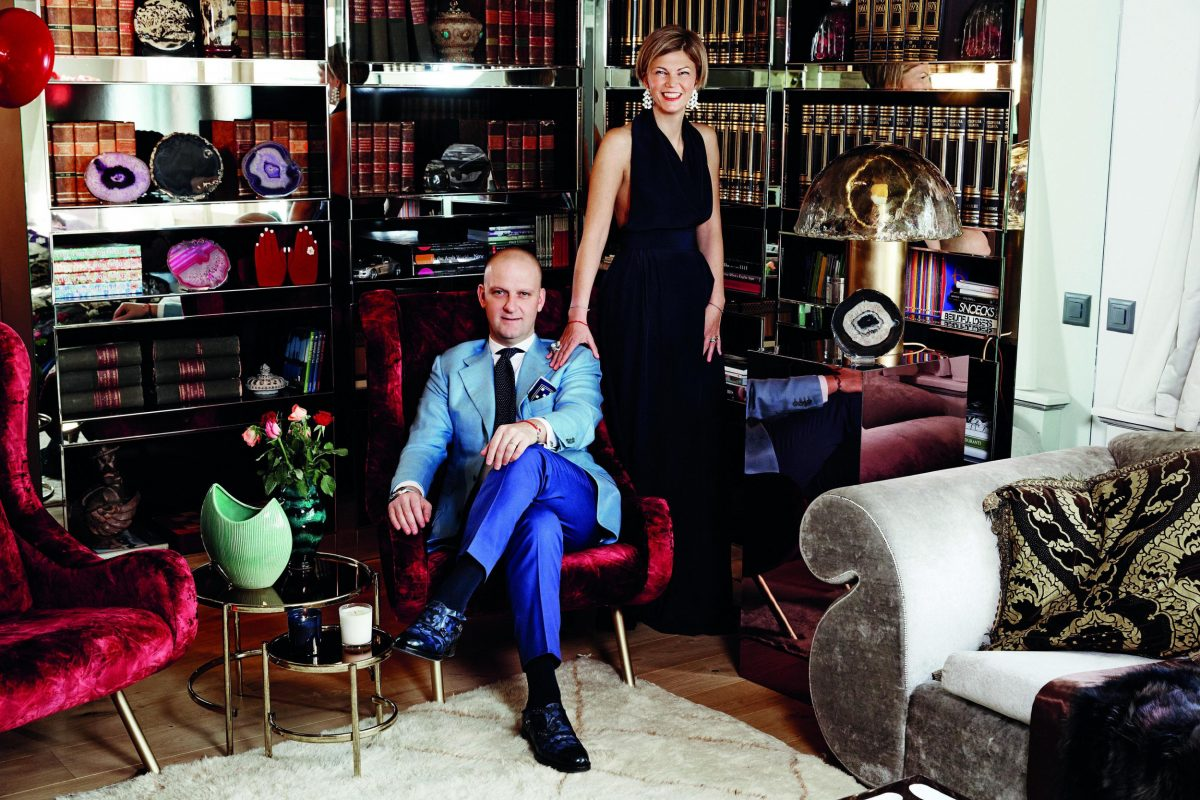Santoni shoes CEO and wife in St. Moritz