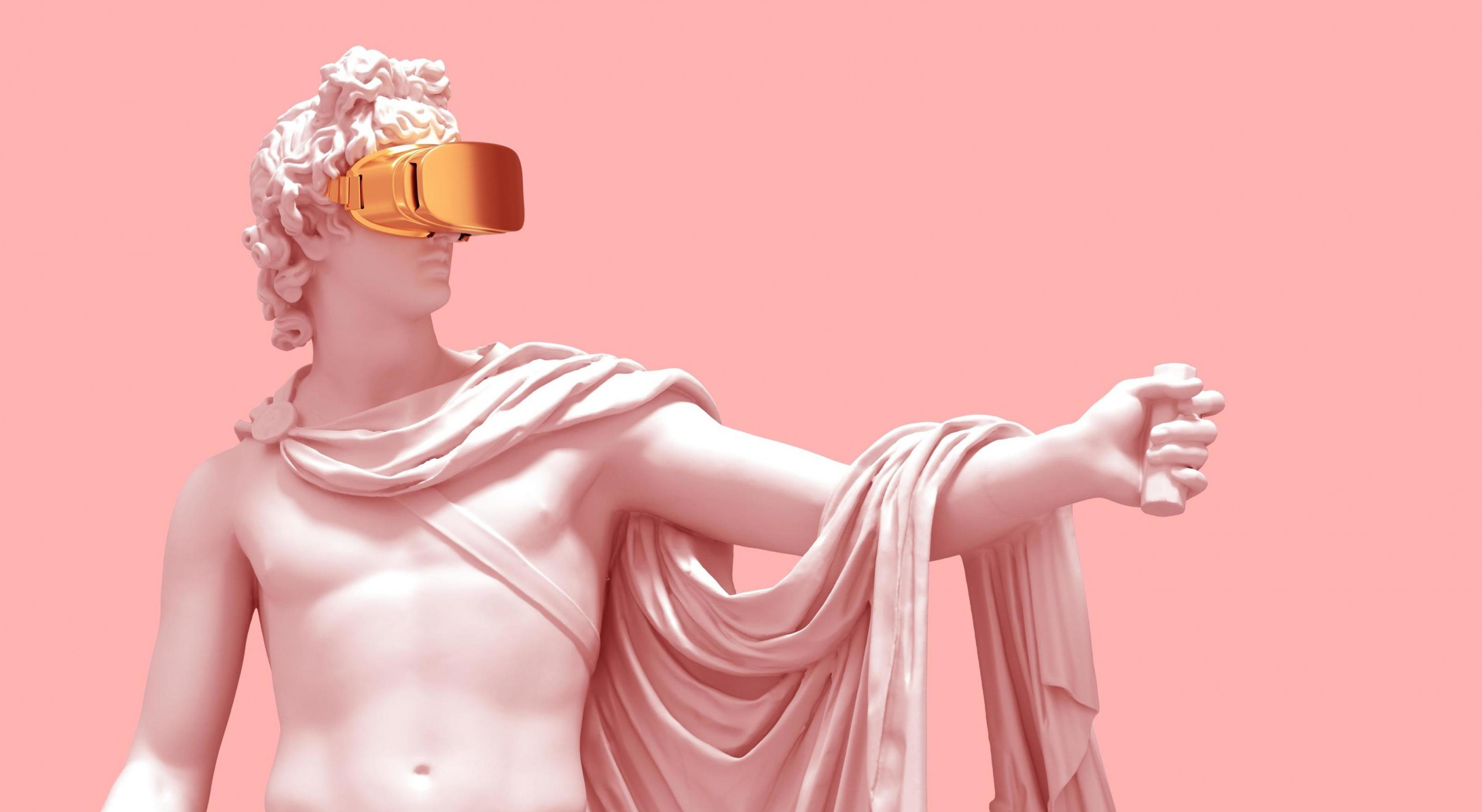 Statue with virtual reality mask on