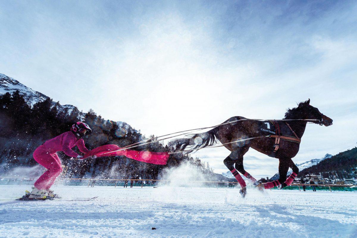 Valeria Holinger skijoring Lake St. Moritz