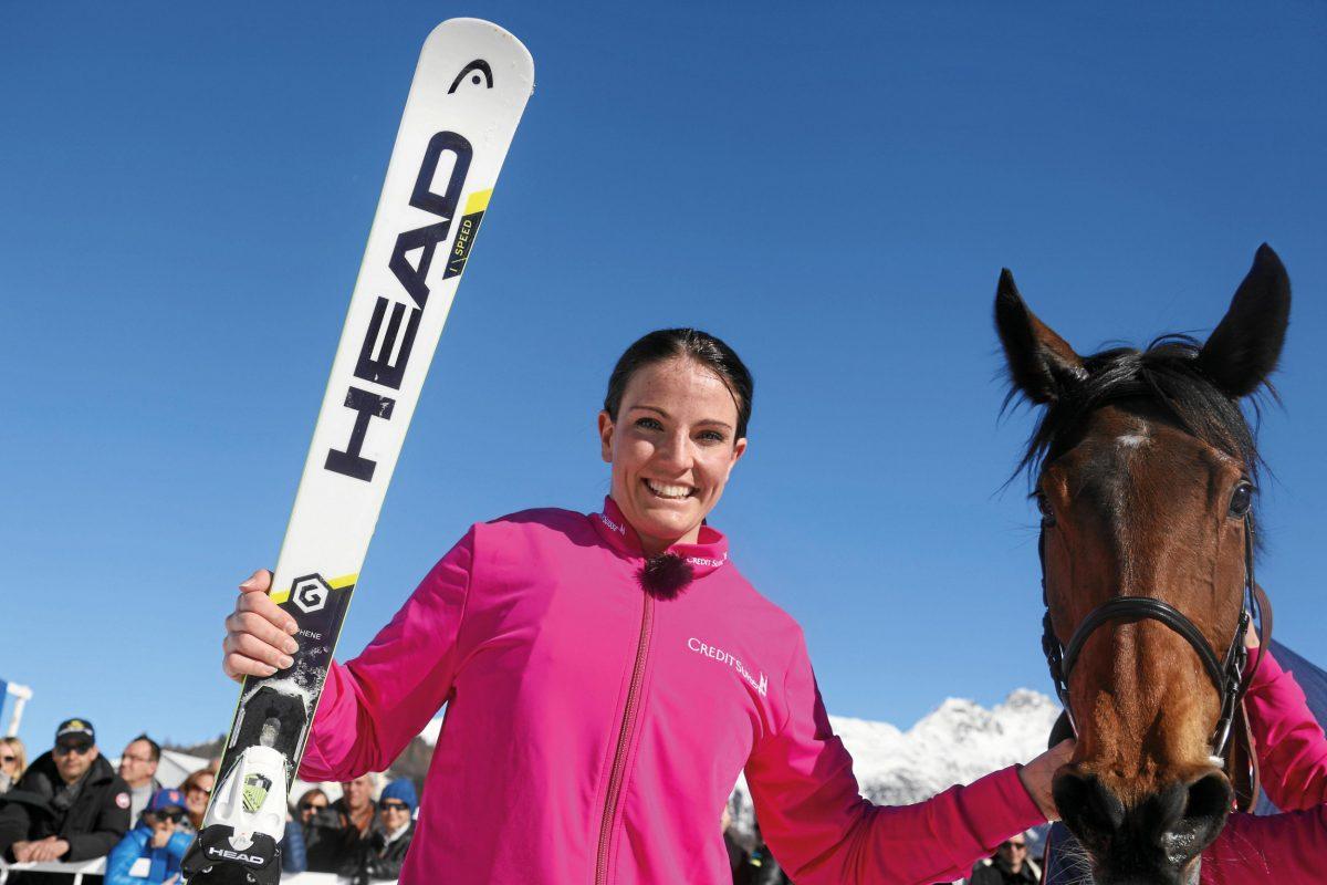 Valeria Holinger with her horse