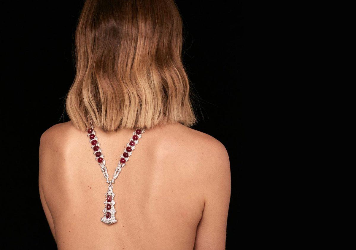 Woman wearing vintage jewellery