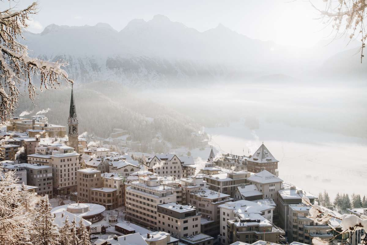 Winter scene of Badrutt's Palace Hotel