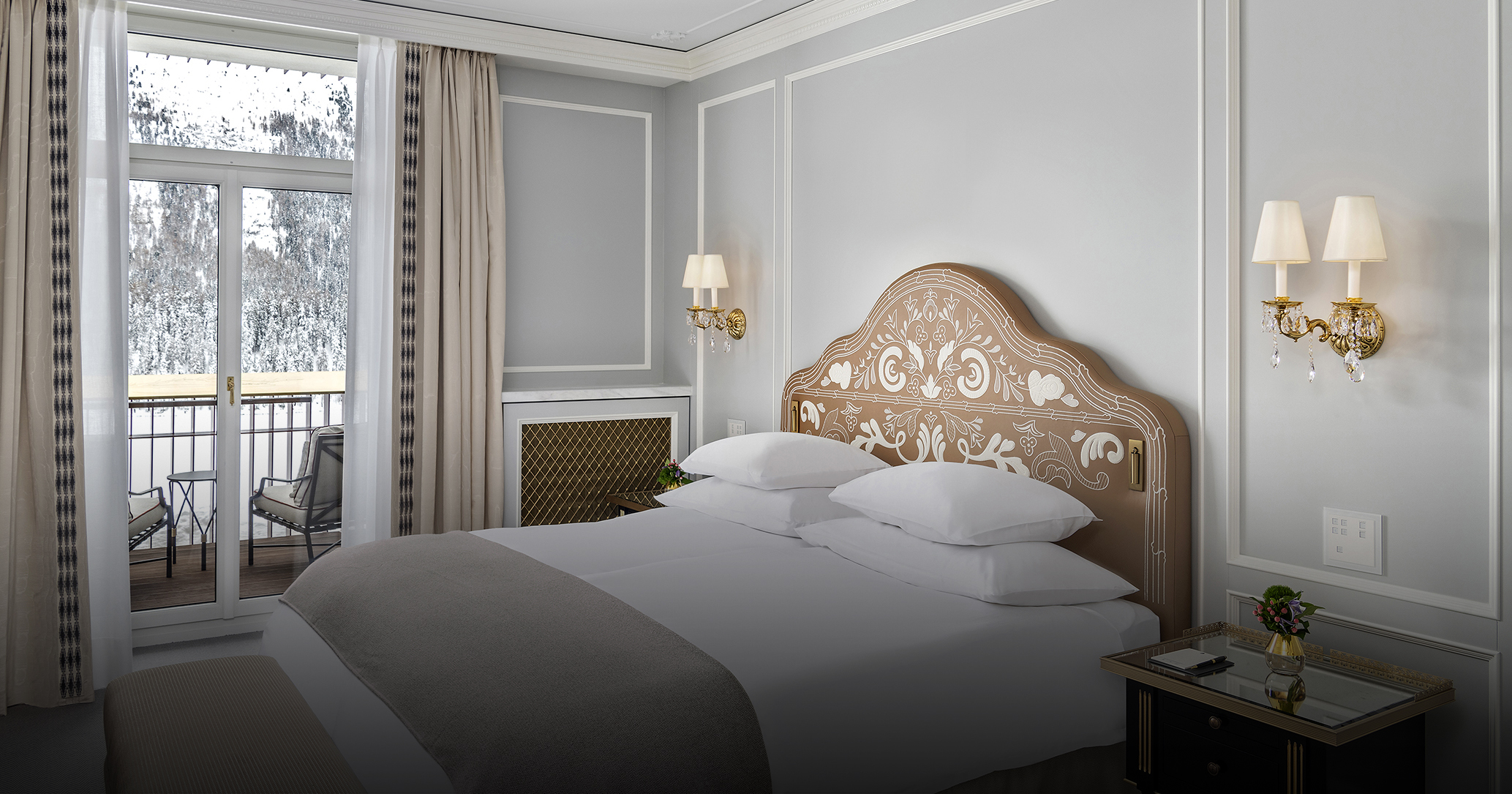 Bedroom suite at the Badrutt's Palace Hotel