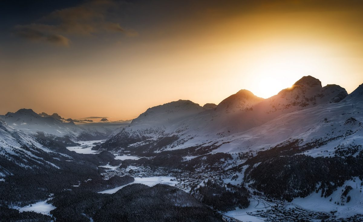 View of the Engadin Valley at sunset from Muottas Muragl