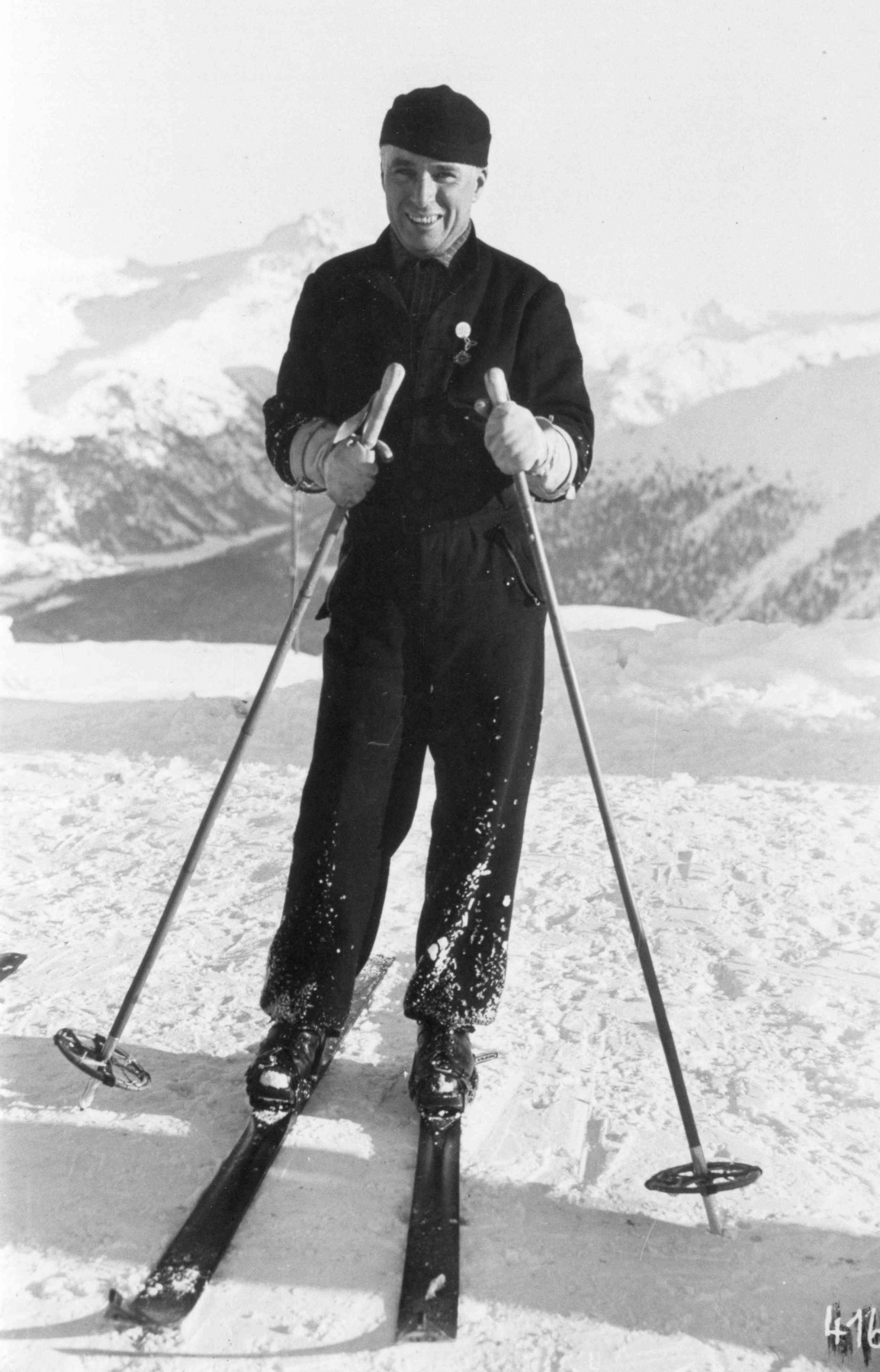 Black and white image of Charlie Chaplin in St. Moritz