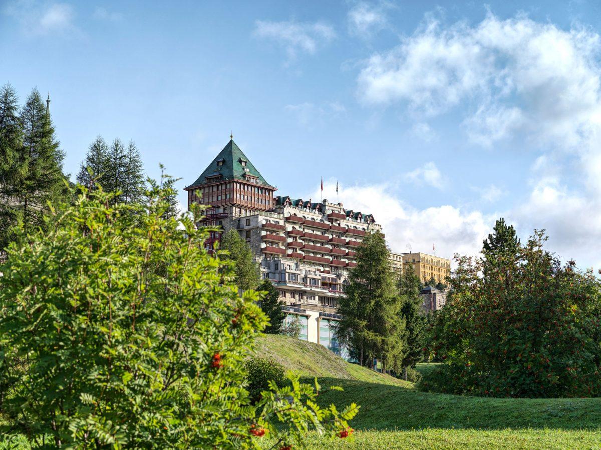 Badrutt's Palace Hotel and garden in St. Moritz