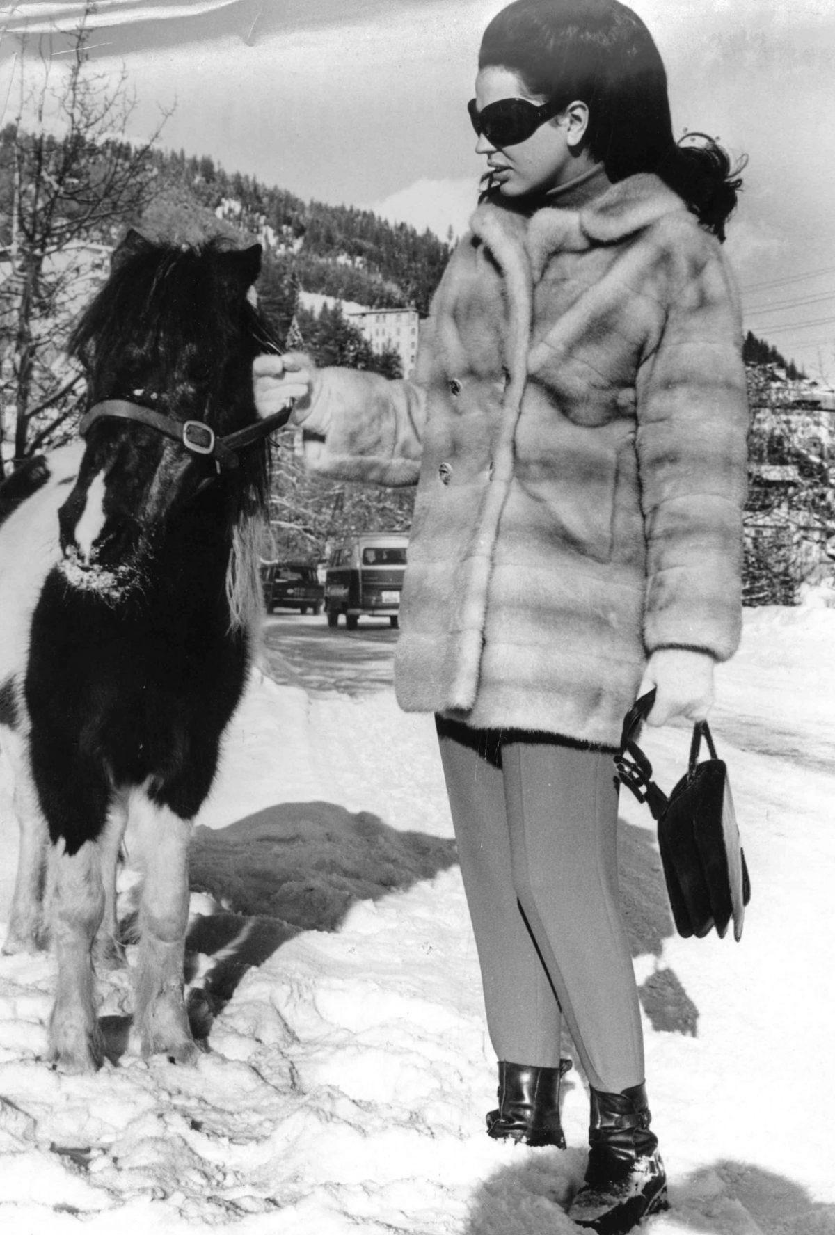 Princess Ira von Furstenberg in snow in St. Moritz