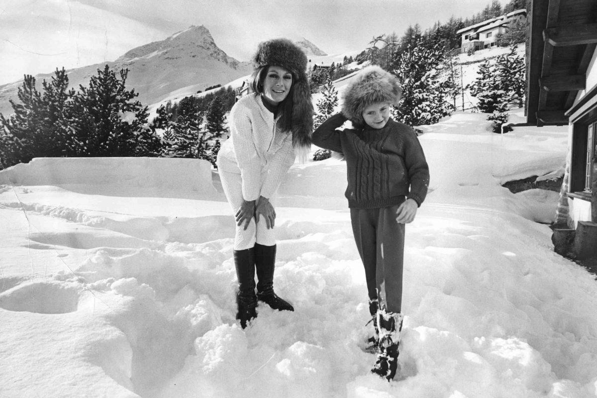 Baroness Fiona Thyssen-Bornemisza and daughter in St. Moritz