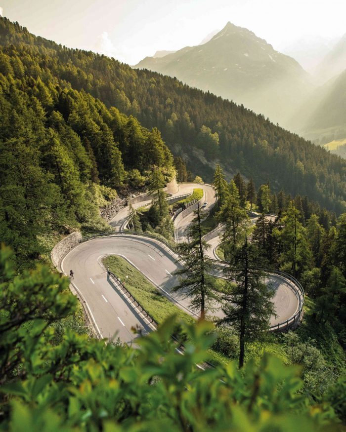 Maloja Pass in the Swiss Alps