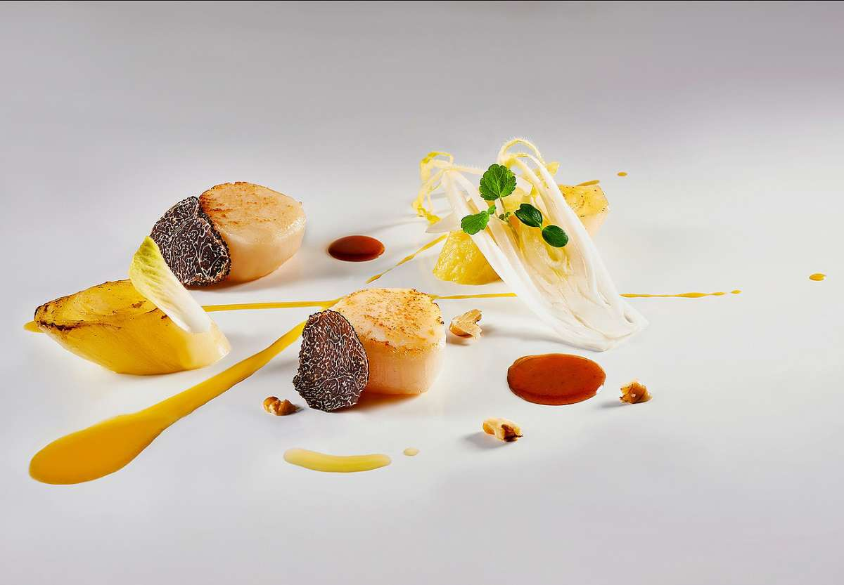 Seared hand dived scallops by Maxime Luvara, Executive Chef, Badrutt's Palace Hotel