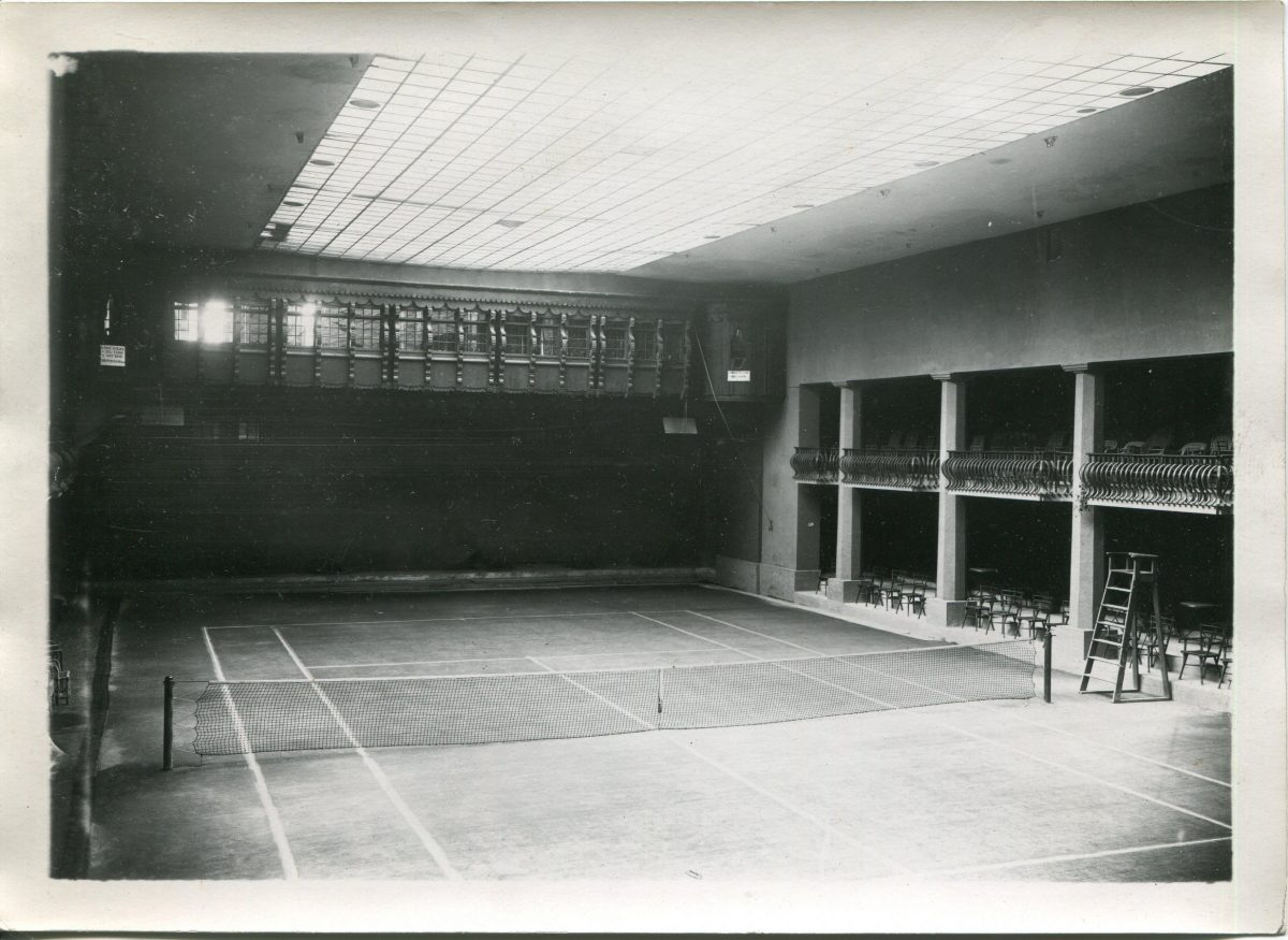 The indoor tennis court at Badrutt's Palace Hotel