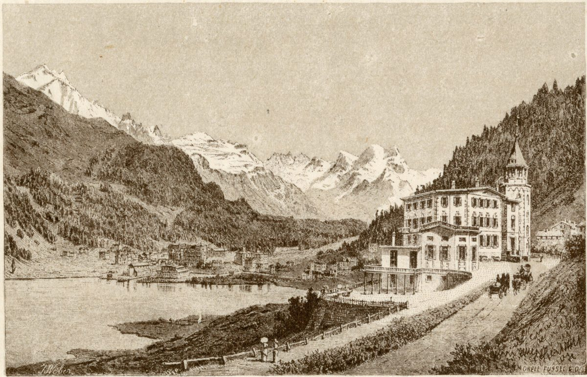 Historic illustration of Beau Rivage Hotel (later Badrutt's Palace Hotel) in St. Moritz
