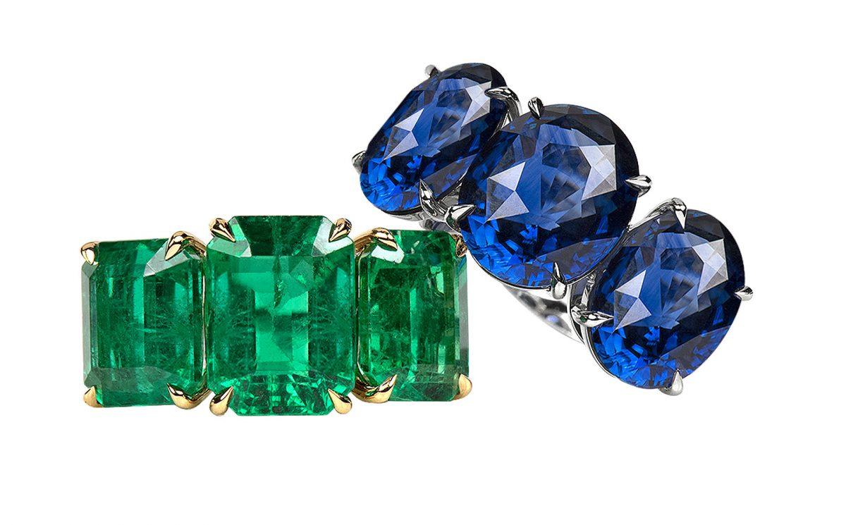 Saphir- und Smaragdringe