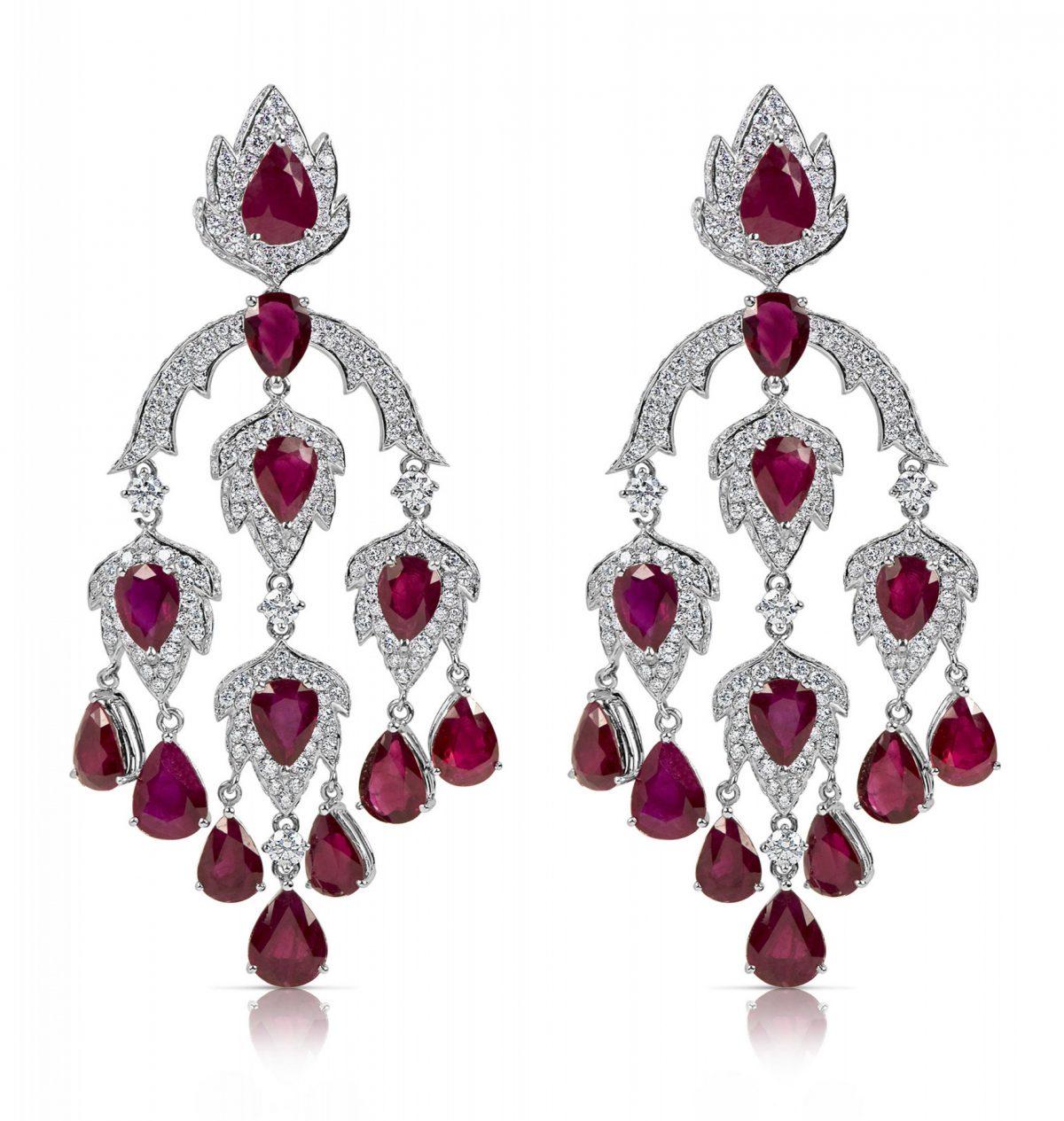 Rubin- und Diamantohrringe
