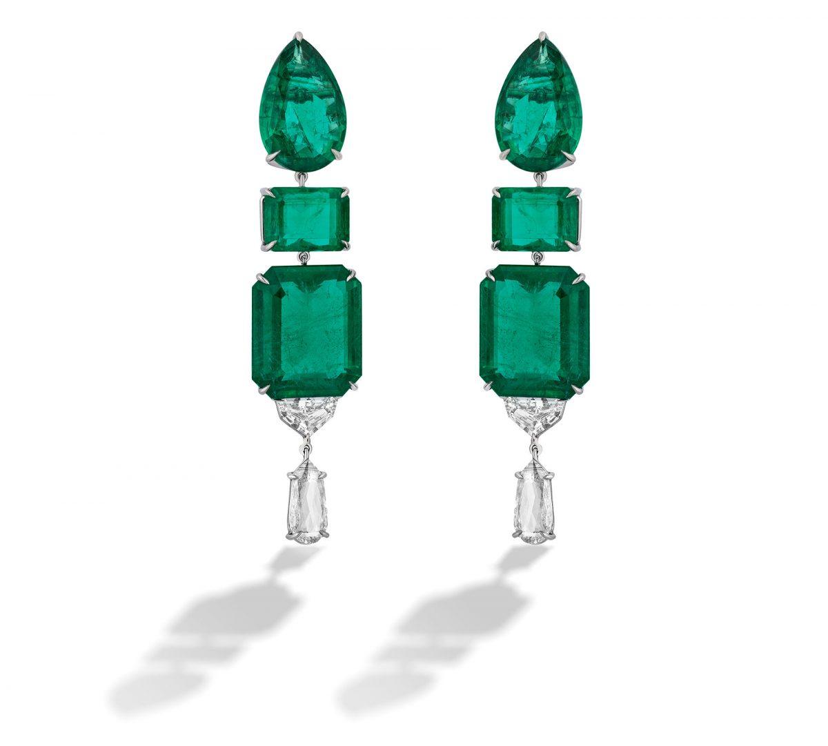 Smaragd- und Diamantohrringe, inspiriert von St. Moritz