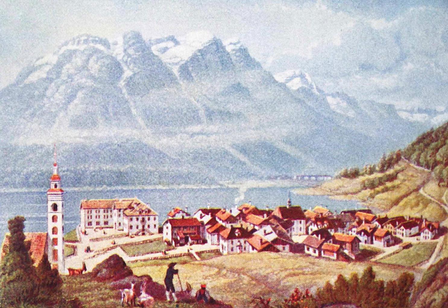 Historic engraving of St. Moritz