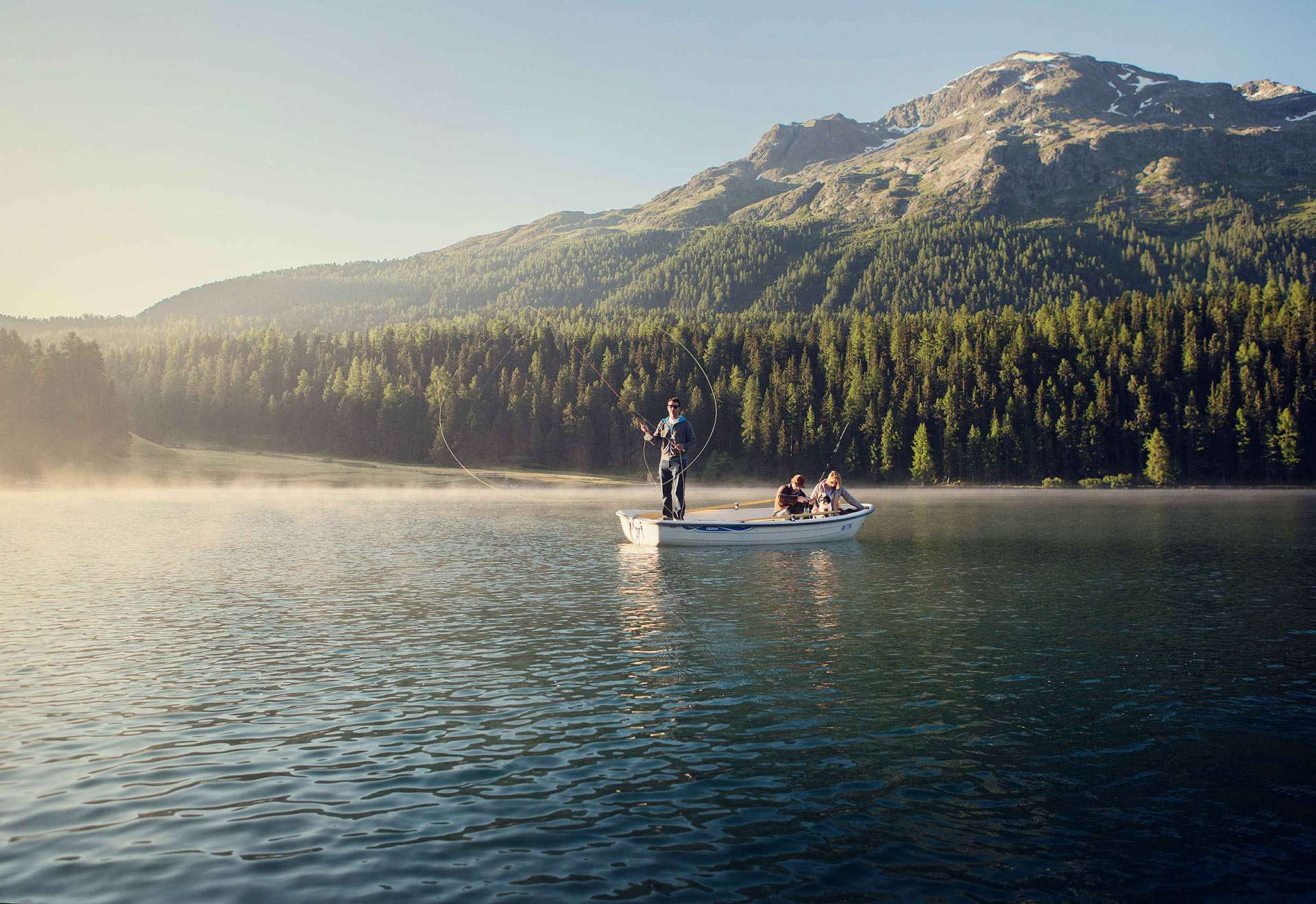 Fly fishing on a lake